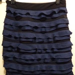 Elizabeth & James blue/black ruffled mini skirt-xs